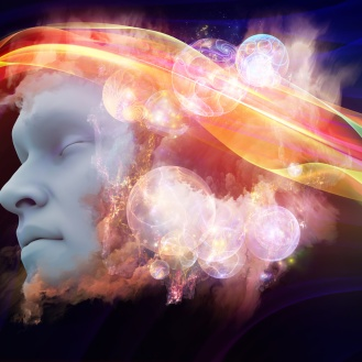 Brainwaves series. Artistic background made of human face and colorful fractal clouds for use with projects on dreams, mind, spirituality, imagination and inner world